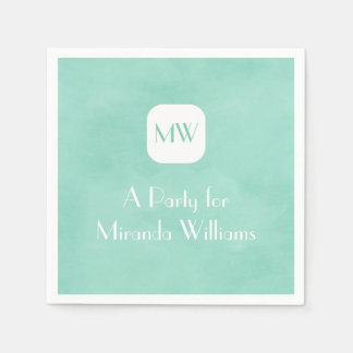 Simple and Chic Mint Green Monogram With Name Paper Napkins