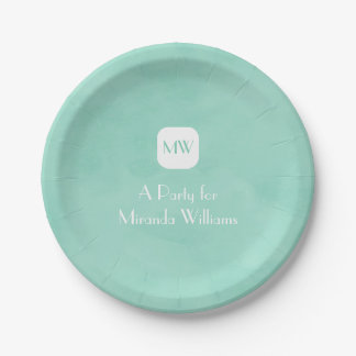 Simple and Chic Mint Green Monogram With Name Paper Plate