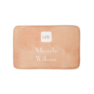 Simple and Chic Peach Orange Monogram With Name Bath Mat