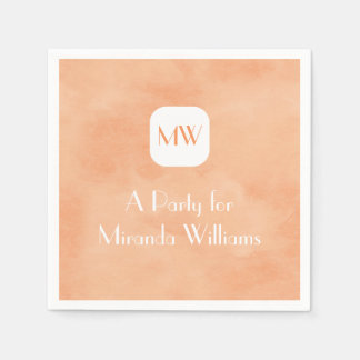 Simple and Chic Peach Orange Monogram With Name Disposable Napkin