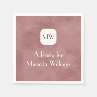 Simple and Chic Rosy Brown Monogram With Name Disposable Napkins