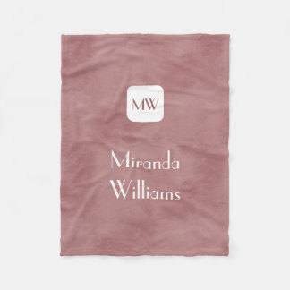 Simple and Chic Rosy Brown Monogram With Name Fleece Blanket