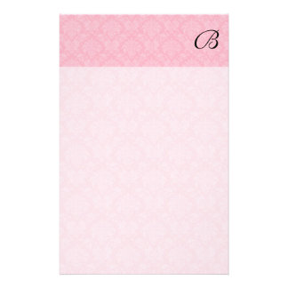 Simple and Classic Pink Damask with Black Monogram Stationery Design