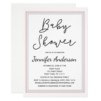 Simple and Clean Pink White Black Baby Shower Card