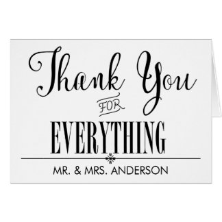 Simple and Clean Thank You Black and White Card
