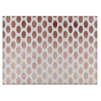 simple and clear faux rose gold polka dots pattern cutting board