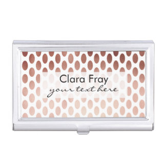 simple and clear rose gold foil polka dots pattern business card case