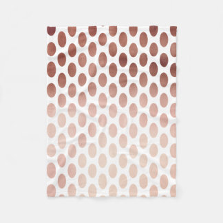 simple and clear rose gold foil polka dots pattern fleece blanket