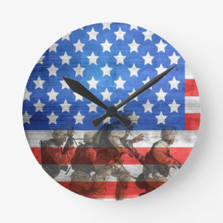 Simple and Colorful Soldiers and American Flag Wallclocks