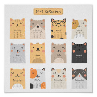 Simple and Cute Cats 2018 Calendar | Poster
