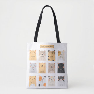 Simple and Cute Cats 2018 Calendar | Tote Bag