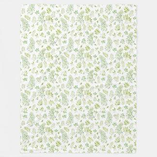 Simple and cute green leaves watercolor pattern fleece blanket