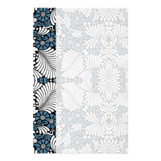 Simple and Elegant Blue and White Fern Print Stationery Design