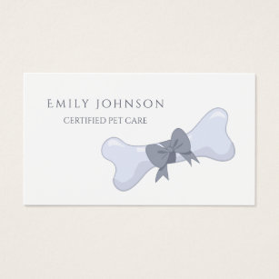 Bow business cards business card printing zazzle ca simple and elegant pet care grey bone and bow business card colourmoves