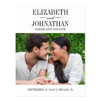 Simple and Elegant Save the Date Photo Postcard