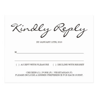 Simple and Elegant Wedding Reply Enclosure RSVP Postcard