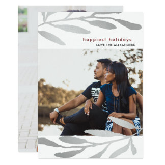 Simple and Modern Botanical Holiday Double Photo Card