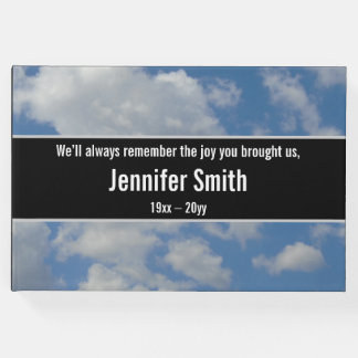 Simple and Plain Cloudy Sky Funeral Guest Book