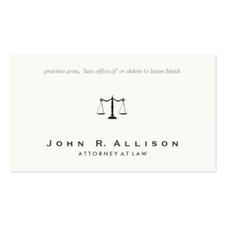 Simple and Sophisticated Attorney Off White Pack Of Standard Business Cards