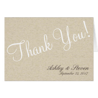 Simple and Sweet Rustic Linen Look Thank You Card