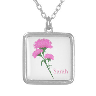 Simple and Sweet Trio of Pink Carnations Silver Plated Necklace
