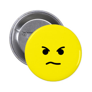 Simple Angry Yellow Face 2 Inch Round Button