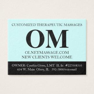 Simple Aqua, Black, and White Massage Therapy Card