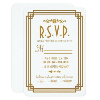 Simple Art Deco White Wedding RSVP Response Cards