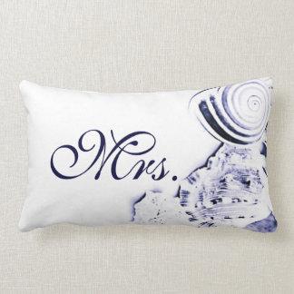 Simple Artistic Navy Blue Seashells Mrs. Pillow