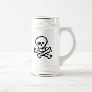 Simple B&W Skull & Crossbones Beer Stein