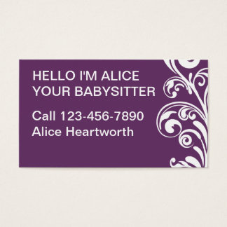 Simple Babysitting Business Cards