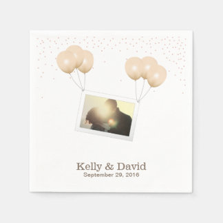 Simple Balloon Photo Chandelier Confetti Wedding Disposable Napkin
