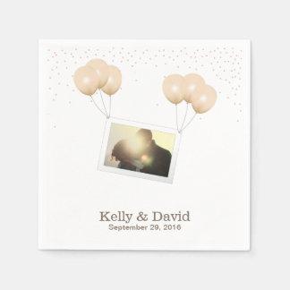 Simple Balloon Photo Chandelier Confetti Wedding Napkin
