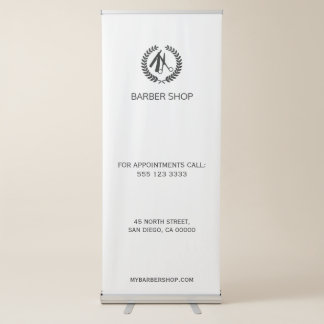 Simple barber shop black and white template retractable banner