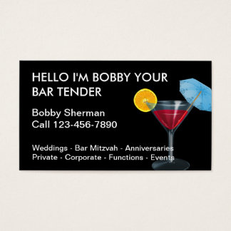 Simple Bartender Business Cards