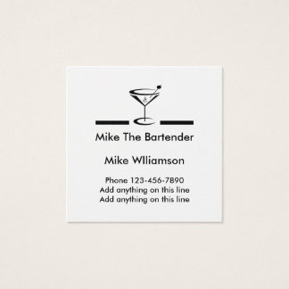 Simple Bartender Profile Square Business Card