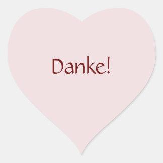 """Simple Basic """"Danke!"""" Text Design Heart Sticker"""