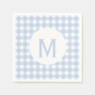 Simple Basic Faded Denim Blue Gingham Monogram Paper Napkin