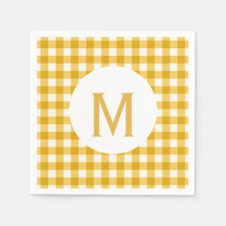 Simple Basic Gold Gingham Monogram Paper Napkin