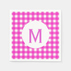 Simple Basic Hot Pink Gingham Monogram Napkin