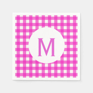 Simple Basic Hot Pink Gingham Monogram Paper Napkin