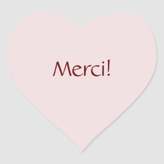 "Simple Basic ""Merci!"" Text Design Heart Sticker"