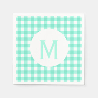 Simple Basic Mint Green Gingham Monogram Disposable Napkins