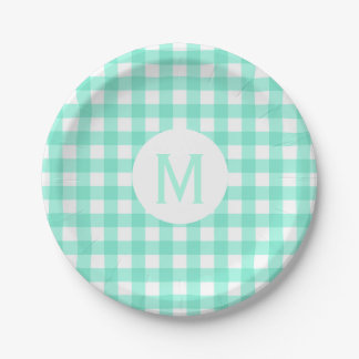 Simple Basic Mint Green Gingham Monogram Paper Plate