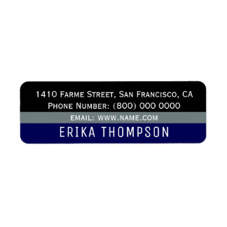 simple basic modern & striped return address label