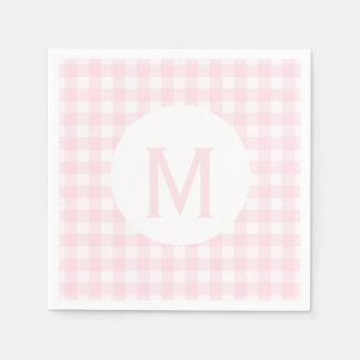 Simple Basic Pale Pink Gingham Monogram Paper Napkin