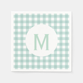 Simple Basic Sage Green Gingham Monogram Disposable Napkins
