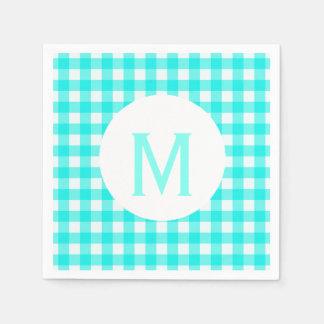 Simple Basic Turquoise Gingham Monogram Disposable Napkin