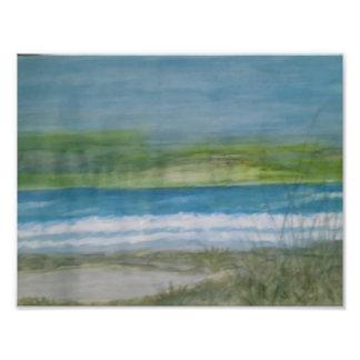 Simple Beach Scene watercolor print. Photographic Print
