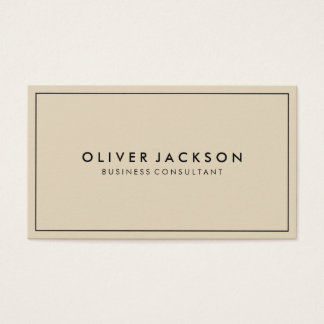 Simple Beige with Black Border Minimalist Business Card